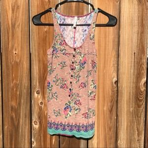 Free People Floral Henley Tank Top